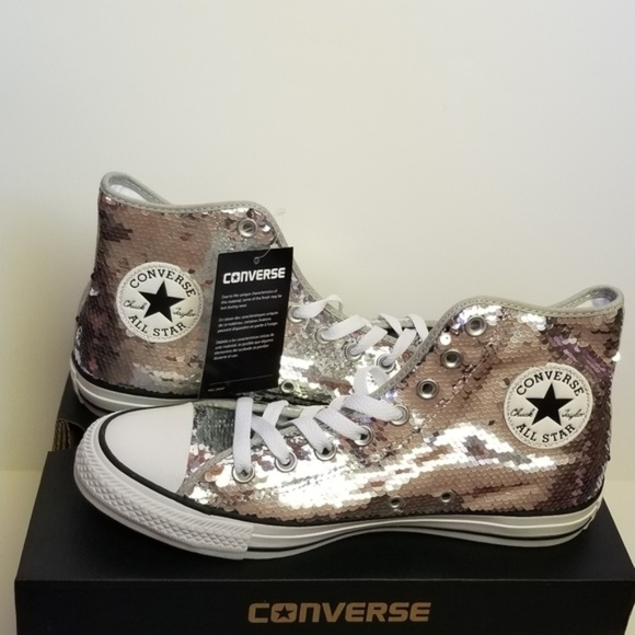 f9dcb7e9dcddfa Converse Silver Sequin High Tops Sneaker Shoes 10